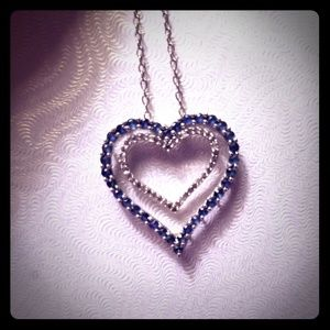 Heart necklace with sapphires.